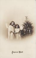 JOYEUX NOEL ENFANTS JEUNES FILLES ANGES FETE VOEUX CARTE FANTAISIE EN 1911 SUPERBE - Santa Claus