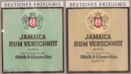 """Jamaique. 2 étiquettes De 1935 Environ """"Rum Verschnitt"""". Bouteilles De Rhum, Vendues En Allemagne - Spiritueux"""