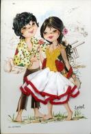 COPPIA GITANOS 1970 LOVERS ART SIGNED ISABEL VESTITO IN TESSUTO IN RILIEVO - Couples