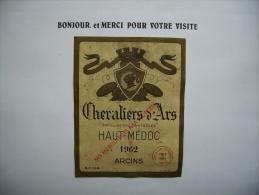 Etiquette  Vin    Haut Medoc  1962  Arcins  33 - Labels
