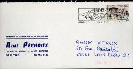 1995 1 5 Flamme Arbent Oblitération Ronde Sur 2911 Simenon Entreprise Travaux Publics Aimé Pechoux - France