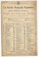 Partition, La Ruche Musicale Populaire, Opéras Opérettes, Revues Etc..., Ed : Au Ménestrel, Frais Fr:1.60€ - Partitions Musicales Anciennes