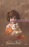 Jolie Fillette Avec Un Petit Chat - Tendresse Amitié - 1916 - Attractive Girl With A Small Cat -  Tenderness Friendship - Portraits
