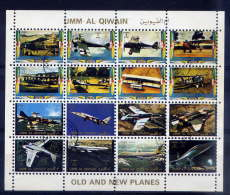 UMM AL QIWAIN--Feuillet De 16 Timbres--avions---- - Umm Al-Qiwain