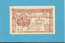 SINES - ESCASSA - CÉDULA De 4 CENTAVOS - 1922 - PORTUGAL - EMERGENCY PAPER MONEY - NOTGELD - Portugal