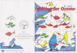 United Nations FDC Mi 776-787 - World Ocean Day Block - Fish - 2013 - FDC