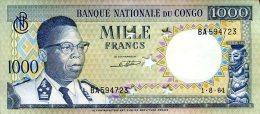CONGO 1000 FRANCS 1964 (perforated Stars) P 8 **UNC** - Zonder Classificatie