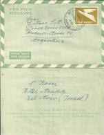 ISRAEL 1967 - AEROGRAMME OF 0,40 FLOWN TO ARGENTINA POSTM OCT 15,1967 REPOS3768/2 - Israel