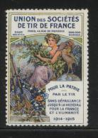FRANCE 1914-5 UNION OF SHOOTING SOCIETIES PATRIOTIC LABEL NHM POSTER STAMP CINDERELLA ERINOPHILATELIE - Commemorative Labels