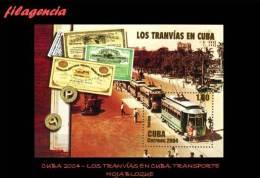 AMERICA. CUBA MINT. 2004 TRANVÍAS DE CUBA. HOJA BLOQUE - Unused Stamps