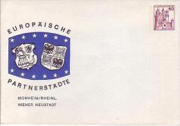 PU 112/15**   Europäische Partnerstädte, Monheim/Rheinl. Wiener Neustadt - Privatumschläge - Ungebraucht