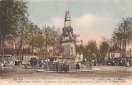 72 PONTLIEUE 1915 PLACE ANIMEE ATTELAGE MAISON LICOT CAFE DE LA STATION ED JONIAUX 37 TBE - Non Classificati