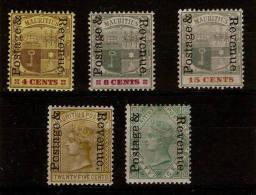 MAURITIUS 1902 POSTAGE & REVENUE OVERPRINT SET TO 50c SG 157/161 MOUNTED MINT Cat £44+ - Mauritius (...-1967)