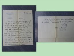 MARSEILLE Docteur Jean FIOLLE, Let Autographe à R. Charmet, 1939 ; Ref 143 - Autógrafos