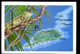 GRENADA GRENADINES 1986, IGUANE Et VUE DES ILES, 1 Bloc, Neuf. R378 - Reptiles & Batraciens