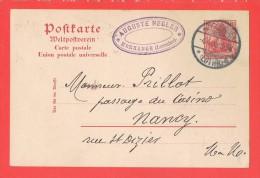 MORCHINGEN MORHANGE Lorraine 4.4.1905  Entête A.Negler Pour Nancy Sur Entier - Marcophilie (Lettres)