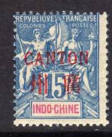 Canton N° 7 XX Surcharge Carmin : 15 C. Bleu Sans Charnière, TB