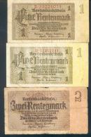 Deutschland, Germany - 2 X 1 & 1 X 2 Rentenmark, Ro. 166 B & C & Ro. 167 A,  ( Serie Z & B & W ) 1937 ! - 1918-1933: Weimarer Republik