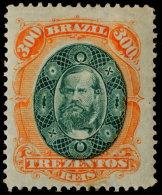 ~~~ Brasil 1868 - Pedro II 300 Rs - Mi. 37 * - Cat. 120.00 Euro  ~~~ - Brazilië