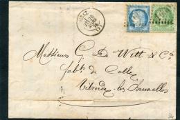 =*= Cérès 53 + 60C Sur Lettre (voir En-tête Publicité) Gros Chiffres 1660 Givet>>>>Vilvorde Belgique 1876 =*= - Postmark Collection (Covers)