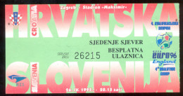 Football CROATIA  Vs SLOVENIA  Ticket  NORTH TRIBUNE 26.04.1995. UEFA EURO 1996. QUAL - Tickets D'entrée