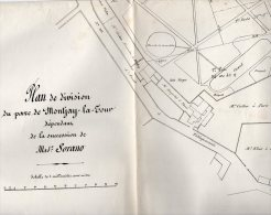 VP929 - VILLEVAUDE  - Plan(64 X 50 ) De Division Du Parc De  MONTJAY / LA / TOUR  Succession Mme SORANO - Planches & Plans Techniques