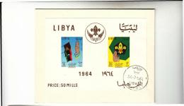 DC911-LIBYA 1964 FOLDER FDC-Zettel 2 Marke 10+20 Mills PROMISE+KAMEL & LIBYA HERRSCHAFT FAHNE - Libye
