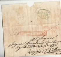 DC933-1848 Coperta Di Lettera MILANO-REGGIO EMILIA-timbro ROSSO Carella AFFRANCATO FRONTIERA+timbro VERDE REGGIO-Barra F - Italy