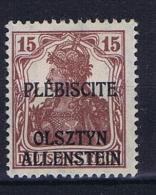 Deutsches Reich Allenstein Mi 4 B Karmin Braun 1 Mai 1920 MH/*