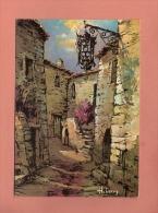 * CPM..( Dépt 06 )..EZE Village  :  Vieille Rue - Peinture De H. Barry  :  Voir Les 2 Scans - Paintings
