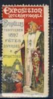 TIMBRE VIGNETTE BRUXELLES 1897 # EXPOSITION UNIVERSELLE # FETES ATTRACTIONS - Erinnofilia