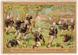 Chromo Premiers Engagements Des Français Avec Les Hovas à Madagascar (Chocolaterie Aiguebelle) - Aiguebelle
