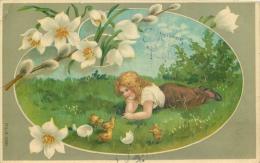 DIVERS 81 CPA  Joyeuses Paques   Fillette Poussins Oeufs     Belle Carte - Easter