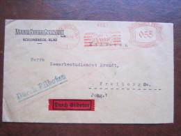 Durch Eilboten Freistempel 055 Nationale Radiator Gesellschaft Schönebeck An Der Elbe 1928 Nach Freiberg In Sachsen - Machine Stamps (ATM)