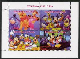104619 - Congo 2013 Walt Disney Characters #3 Perf Sheetlet Containing Four Values Unmounted Mint - Sin Clasificación
