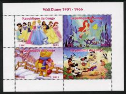 104617 - Congo 2013 Walt Disney Characters #2 Perf Sheetlet Containing Four Values Unmounted Mint - Sin Clasificación
