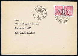 Italy Rep. Soc. Campione Local Issues, Cover With Strip Of Two - 4. 1944-45 Social Republic