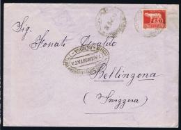 Italy 1945 Cover To Bellinona Transitata Cancel - 6. 1946-.. Repubblica