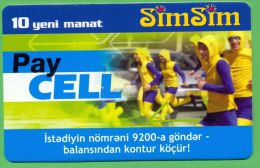 Azerbaijan GSM Prepaid - Azercell SIMSIM 10 New Manat /Used, But Like UNC /