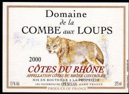 THEME ANIMAUX étiquette De Vin COTES DU RHONE COMBE AUX LOUPS / LOUP - Perros