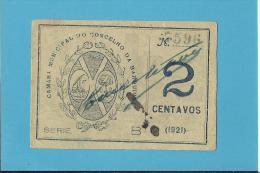 VILA NOVA DA BARQUINHA - CÉDULA De  2 CENTAVOS - 1921 - PORTUGAL - EMERGENCY PAPER MONEY - NOTGELD - Portugal