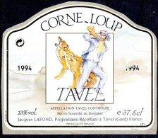 THEME ANIMAUX étiquette De Vin TAVEL CORNE-LOUP / LOUP - Perros