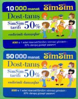 Azerbaijan GSM Prepaid - Azercell SIMSIM 10000 50000 Manat /Used, But Like UNC /
