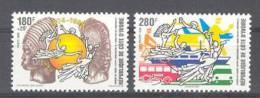 Cote Ivoire - Ivory Coast  (1999)  Yv. 1010/11  / UPU - Train - Bicycle - Car - Ship - Organisaties