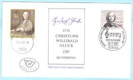 BUND BRD FRG GERMANY - FDC - 1343 C.W. Gluck Musik +++ Österreich (25267) - [7] Repubblica Federale