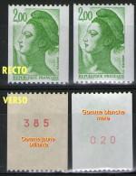 Variété Roulette_2487a** Et 2487c_gomme Brillante Jaunâtre Et Gomme Blanc-mat_n° Rouge Verso - 1982-90 Libertà Di Gandon