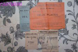 4 TICKET D'ENTREE THEATRE MOGADOR CHATELET THEATRE DES VARIETES THEATRE DE LA GAITE-LYRIQUE SPECTACLE - Tickets D'entrée