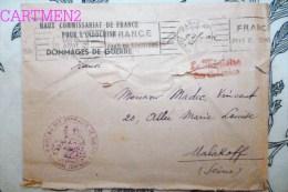 LETTRE D'INDOCHINE HAUT COMMISSARIAT DE FRANCE DOMMAGES DE GUERRE + CACHET MILITAIRE VIETNAM - Indochine (1889-1945)