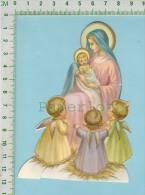 Découpis   A&R X-91-1sc (  Marie Jésus Et Angello ,Image Avec Pied Pour Mettre Sur  Un Bureau ) - Devotion Images