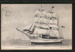 CPA Segelschiff, Trois-Mats Au Plus Pres Vom Wasser Aus - Voiliers